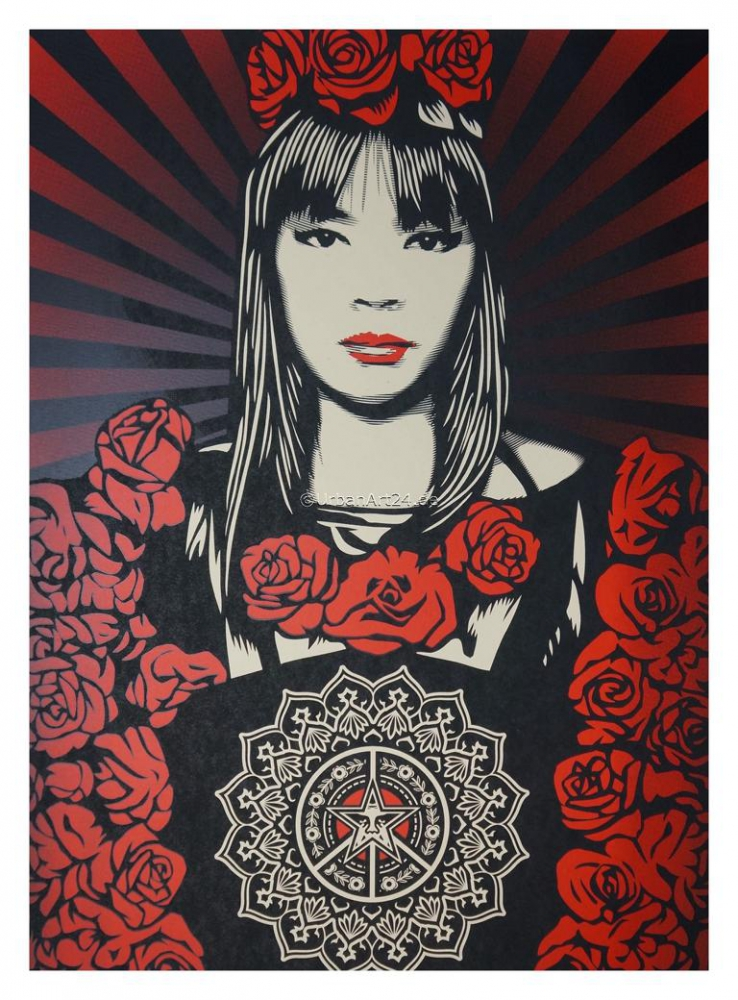 Shepard Fairey Rose Girl print