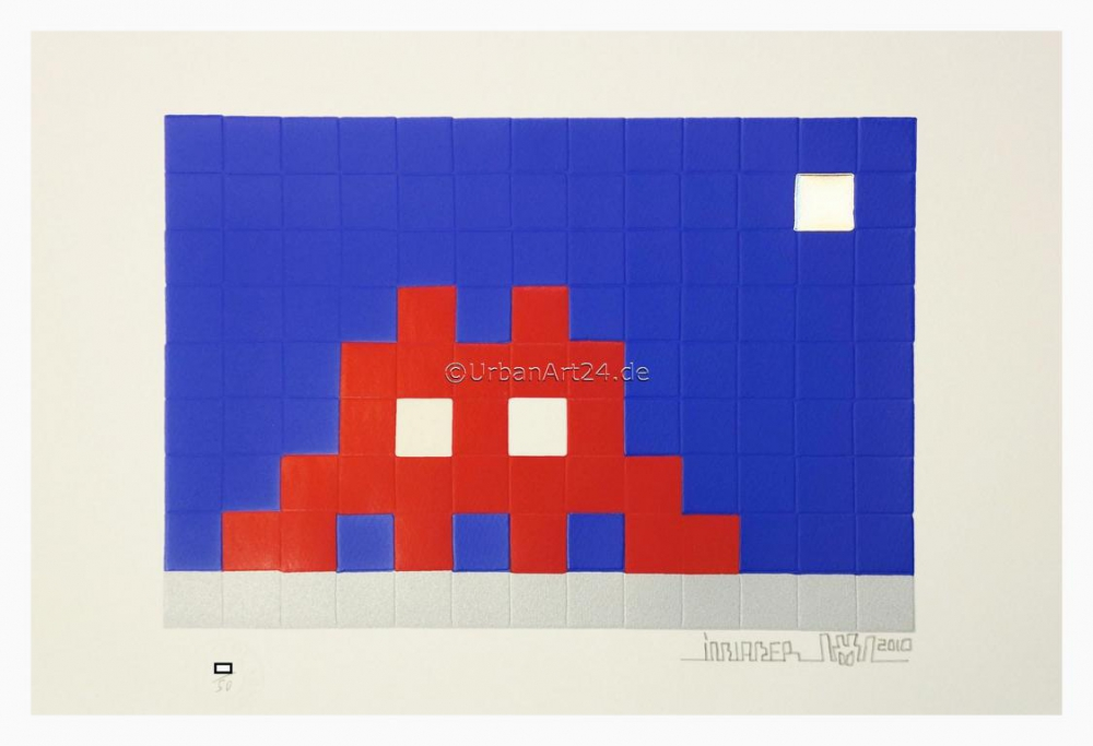 Invader artist Home Moon print